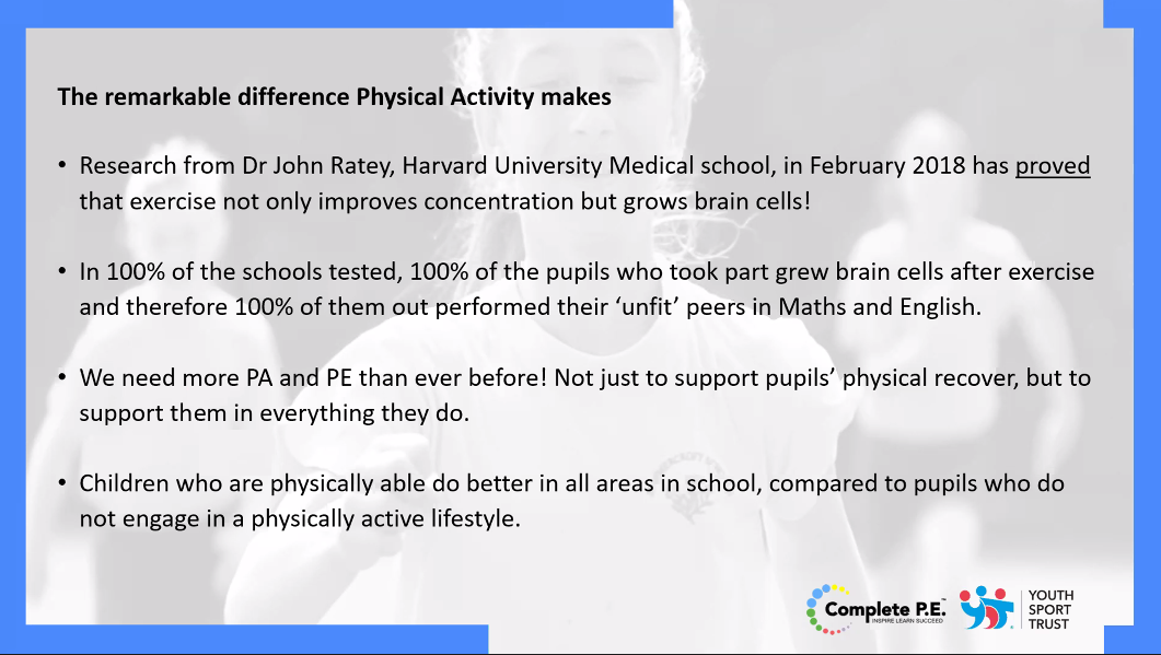 Physical activity learning facts